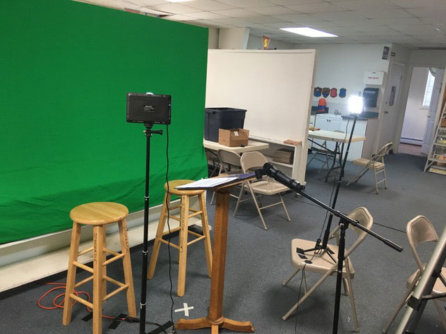 Another view of the studio – the green screen makes it easy to add custom backgrounds.